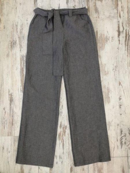 Дамски панталон в сиво с колан